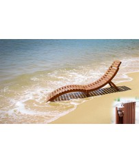 Folding Curved Wooden Sun Lounger