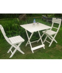 Wooden Bistro Set In White