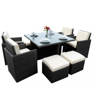 4 Seater Rattan Cube Dining Set