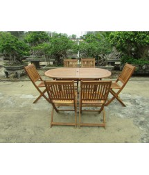 Acacia Wood Oval Extendable Dining Table