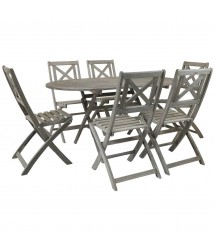 Isla Distressed  Acacia 6 Seater Dining Set